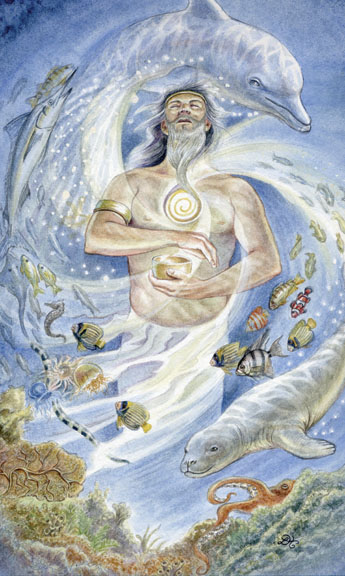 Animals Divine Tarot: Gallery: King of Cups - Poseidon